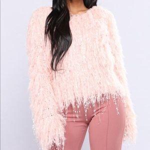 Salmon pink fuzzy sweater